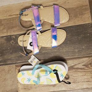 Set of iridescent sandals and pineapple flipflops